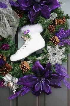 Ice Skate Wreath by Pebble Creek Wreaths Merry Christmas To All, Christmas 2015, Christmas Ideas, Holiday Wreaths, Holiday Decorations, Ice Skating, Blue And Silver, Winter Wonderland, Craft Ideas