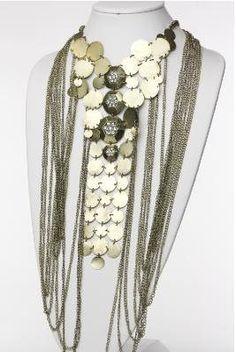 Metal Circle Necklace Set w/Dangling Chain