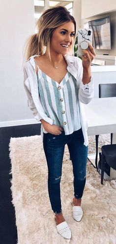 38 Look Good Casual Chic Spring Outfits for Women Mode Outfits, Trendy Outfits, Fall Outfits, Summer Outfits, Fashion Outfits, Fashion Ideas, Outfits With White Shirts, Fashion Clothes, Church Outfits