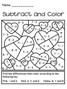 Valentine's Day Subtract and Color Activity