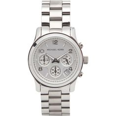 Womens Watches Michael Kors Silver-tone Stainless Steel Chronograph... ($325) ❤ liked on Polyvore