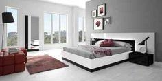chambre moderne avec design d'intérieur gris, rouge et blanc