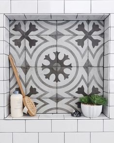 BEFORE AND AFTER: A Dated, Builder Bathroom Becomes An Eye-Catching, Modern Retreat — DESIGNED Master bathroom remodel, new shower with cement look tile shampoo niche, white subway tile with dark grout Subway Tile Showers, Bathroom Showers, White Subway Tile Shower, White Subway Tile Bathroom, Brown Bathroom, Gold Bathroom, Peach Bathroom, Cream Bathroom, Narrow Bathroom