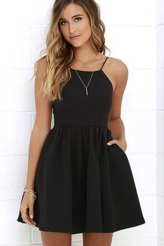 Profess your love for fashion with one key piece: the Chic Freely Black Backless Skater Dress! Sightly stretchy woven fabric falls from slender straps to a squared-off neckline, and a backless, princess-seamed bodice. From the gathered, fitted waist the t Backless Homecoming Dresses, Cute Prom Dresses, Black Prom Dresses, Pretty Dresses, Beautiful Dresses, Simple Homecoming Dresses, Dress Black, Black Graduation Dresses, Black Cocktail Dress