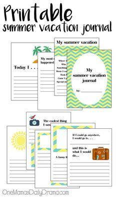 FREE Printable summer vacation journal for kids | How I spent my summer vacation, travel, road trip, kids activity, writing prompts, memories, keepsake