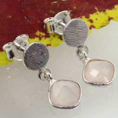 925 Solid Sterling Silver Earrings Natural PINK CHALCEDONY Gemstones ! Best Gift #Unbranded #DropDangle