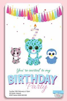 Beanie Boo invitation #beanieboo #party #invite #beaniebooparty #beanie boo Beanie Boo Party, Beanie Boos, Puppy Birthday Parties, 8th Birthday, Beanie Boo Birthdays, Party Printables, Birthday Party Invitations, Party Time, Invite