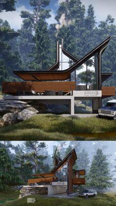 Futuristic Architecture, Amazing Architecture, Interior Architecture, Villa Design, Modern House Design, Home Building Design, Building A House, Forest House, Exterior Design