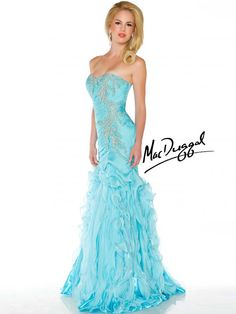 Aqua Ball Gown with Layered Skirt - Mac Duggal  Look so elegant in this strapless aqua ball gown. The beautifully embelished pattern and the fitted bust and bodice make this gown all the more eye catching.  Diagonal rouching on the dropped waist bodice is complimented by intricate crystal beadwork and vertical layers creating a unique layered full length skirt.