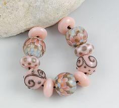 Handmade Lampwork Glass Bead Set - petal beads in pink, tan, pale blue