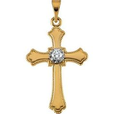 14kt Yellow 21x15mm Diamond Cross Pendant * Click on the image for additional details. (This is an affiliate link and I receive a commission for the sales)
