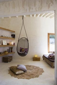 Cool Hanging Chairs For Indoor And Outdoor: Captivating Black Knit ...