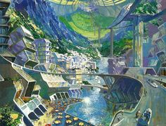 A glorious future inside a torus-shaped space colony, illustrated in the 1982 book Walt Disney's Epcot Center: Creating the New World of Tomorrow.