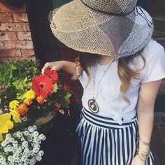 Mitzi Sun Hat #Anthropologie #MyAnthroPhoto Boho Outfits, Winter Outfits, Summer Outfits, Cute Outfits, Fashion Outfits, Autumn Summer, Spring Summer Fashion, Striped Skirts, Fashion Identity