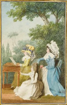 Portrait of a mother with her daughters, c. 1780 by Louis Caroggis Carmontelle(1717-1806)