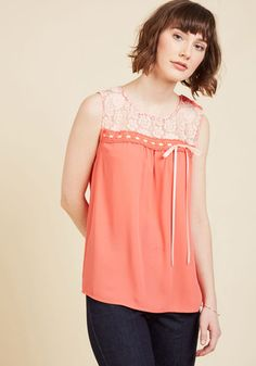 Natural Sweetener Sleeveless Top in Coral. By outfitting this coral blouse, you organically infuse your ensemble with flirtatious appeal! #coral #modcloth