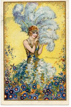 Art Deco postcard illustrated by Adolfo Busi, ca. 1920s