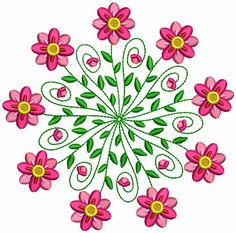 Pink Flowers Embroidery Designs, Machine Embroidery Designs at EmbroideryDesigns. Embroidery Flowers Pattern, Hand Embroidery Tutorial, Learn Embroidery, Hand Embroidery Stitches, Hand Embroidery Designs, Custom Embroidery, Embroidery Techniques, Ribbon Embroidery, Flower Patterns