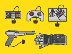 A print of some of the the fun gear for the original Nintendo Entertainment System back in the day.