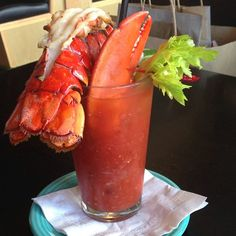 Lobster Bloody Mary. OH MY. Linda Bean's Topside Tavern