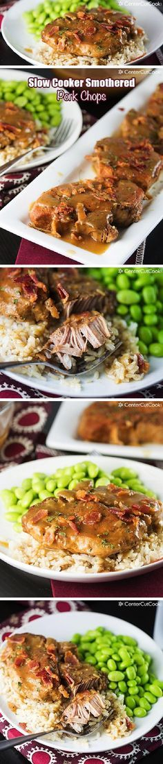 Slow Cooker Smothered Pork Chops with bacon and brown gravy, served over rice! Fall off the bone tender! You NEED to try this recipe!