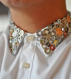 dress up a white collared shirt with buttons,washers,nuts,bolts,or foreign money!