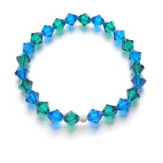 £25 Amara crystal bridesmaid bracelet blue zircon and capri blue. House of colour winter