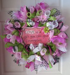 LOVE Is A GIFT...Deco Mesh Wreath by ADoorableCreations05 on Etsy