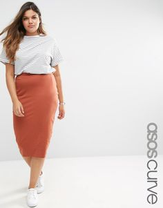 Image 1 of ASOS CURVE Midi Pencil Skirt in Jersey