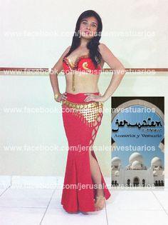 Falda asirenada con olanes, abertura en ambos costados unidos por crucetas. (bellydance, danza del vientre, vestuario, costume, custom made)