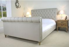 Chesterfield Upholstered Sleigh bed | Grosvenor Beds Ltd