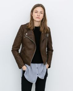 ZARA - WOMAN - LEATHER-EFFECT BIKER JACKET WITH ZIPS - i've always wanted a brown leather jacket - this one is nice