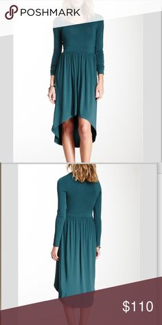 """Hi-Lo Dress NWT Tart hi-lo dress in teal like color. Slips over head and has a stretch knit construction and banded waist. About 35.5"""" in from and 47.5"""" on back. 95% modal, 5% spandex. Fits true to size. Bundle and save or offers welcome! Tart Dresses"""