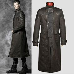 Men Black Grey Gray Leather Military Gothic Trench Coats Overcoats