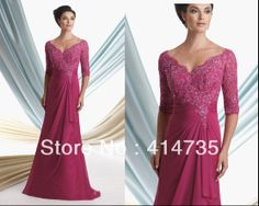 Fuschia One Piece V Neck Beaded Lace Mother of the Bride Dresses Gowns Chiffon M1220  Custom Made $118.00