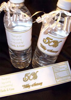 20 Water Bottle Labels 50th Wedding Anniversary