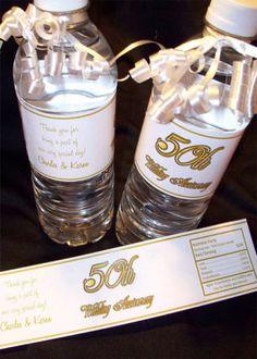 60 water bottles with 60th bday de mami con una frase diaria de ella!