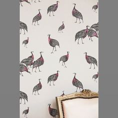 Our best seller in January. Here is a detail shot of our 'Birds of a Feather' wallpaper in colourway 3.  #guineafowl #wallpaper #wallcoverings #metallic #metallicwallpaper #pink #detail #design #drawing #illustration #inspiration #interiordesign #homedecor #colour #birds #birdwallpaper #guineafowlwallpaper