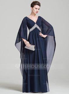 Empire V-neck Floor-Length Ruffle Sequins Zipper Up Sleeves Long Sleeves No Dark Navy Spring Summer Fall General Plus Chiffon Evening Dress