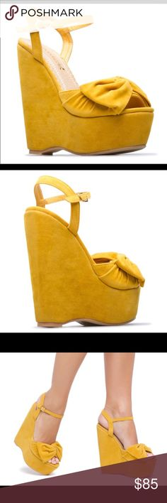 "Adorable Mustard Suede Gabi Wedges Adorable Mustard Suede Gabi Wedges. Best fits a 7. 6"" Heels 2"" platform. Adjustable ankle straps. Embellished Bow. Peep Toe Shoes Wedges"