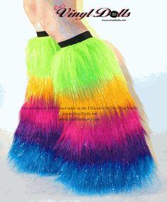 *Glitter* UV Rainbow Furry Leg Warmers, Boot Covers
