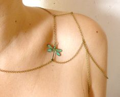 Dragonfly Shoulder jewelry   going out body chain by liliFunambule, €23.00