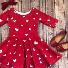 Red Heart Dress - Heart Dress - Valentine Dress - Valentine's Day Dress - Toddler Dress - Little Girl Dress - Twirl Dress - Twirly Dress Red And White Outfits, White Skirt Outfits, Little Girl Dresses, Girls Dresses, Casual Dresses, Valentines Day Dresses, Valentine's Day Outfit, Heart Dress, Toddler Dress