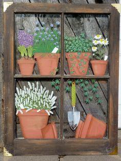 Panes of Art, Hand Painted Window Pane Art, Window Art, Decorative Window Panes, Old Barn Wood Art F Window Screen Crafts, Old Window Crafts, Old Window Projects, Window Ideas, Art Projects, Old Window Art, Window Pane Art, Window Frames, Painted Window Panes