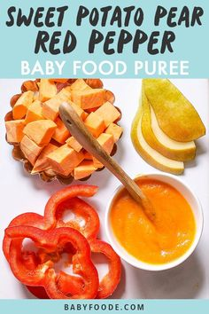 This Sweet Potato Pear Red Pepper Baby Food Puree is loaded with vitamin A C E folate beta-carotene potassium calcium lycopene and fiber. That's a ton of essential nutrients for growing baby! Great for 6 months - stage 2 baby food puree. Baby Puree Recipes, Pureed Food Recipes, Baby Food Recipes, Homemade Baby Puffs, Homemade Baby Foods, Toddler Meals, Kids Meals, Baby Food Combinations, Making Baby Food
