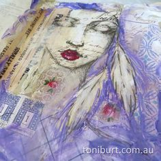 Work in progress in my mixed media art journal....love the serene look on her face and the gorgeous feathers....mixed media acrylic paint, vintage papers, old stamps. art journaling