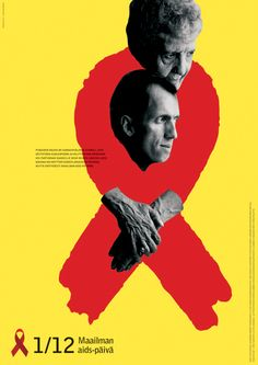 """2004 World AIDS Day  Translation: """"The red ribbon is an internationally recognized symbol. By wearing it, a message of conscience and caring is sent to all people infected with HIV and the ones taking care of them. Please wear the red ribbon on World Aids Day, or any day of the year.""""  This poster image suggests the red ribbon symbol as a binding embrace of caring and commitment. AIDS Day is a moment to commemorate people with AIDS and their loved ones who take care of them.   Finland, 2004"""