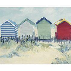 'Suffolk Beach Huts' Art Print East Urban Home Format: Canvas, Matte Colour: No Matte, Size: H x W Beach Huts Art, Beach Art, Beach Watercolor, Watercolor Landscape, Painting Prints, Watercolor Paintings, Art Prints, Art Plage, Hampton Beach