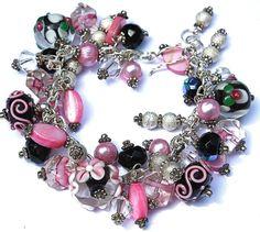 Beaded Chunky bracelet charm bracelet pink, black, lampwork, pearls Cha Cha bracelet Sterling Silver fringe bracelet