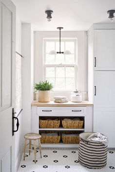 bright white laundry room